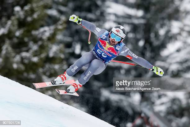 Maxence Muzaton of France competes during the Audi FIS Alpine Ski World Cup Men's Downhill on January 20 2018 in Kitzbuehel Austria