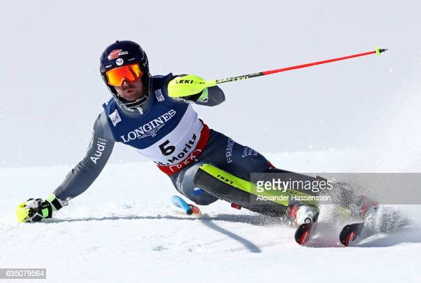 Maxence Muzaton of France competes in the Men's Combined Slalom during the FIS Alpine World Ski Championships on February 13 2017 in St Moritz...