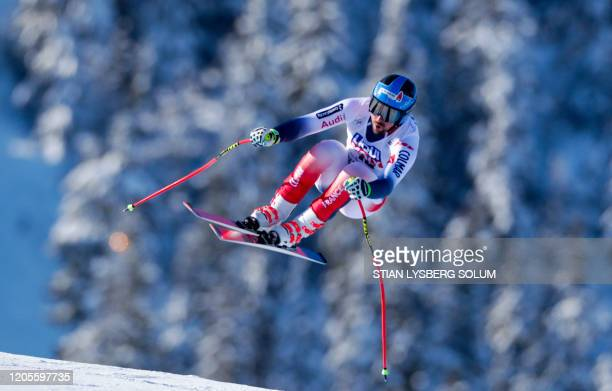 Maxence Muzaton of France competes in the Men's downhill event at the FIS Alpine skiing World Cup on March 7 2020 in Kvitfjell Norway / Norway OUT