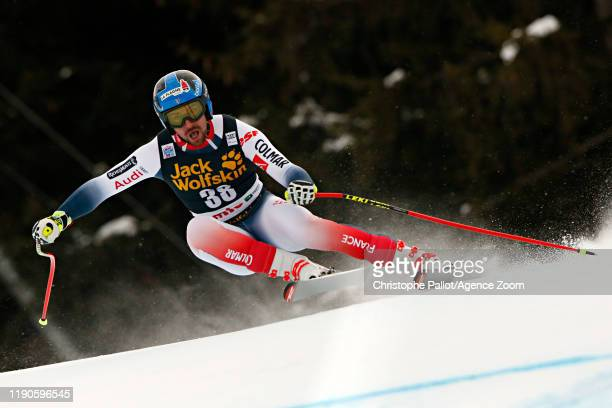 Maxence Muzaton of France in action during the Audi FIS Alpine Ski World Cup Men's Downhill on December 27, 2019 in Bormio Italy.