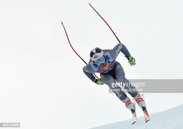 Maxence Muzaton of France performs during a training session of the FIS Alpine World Cup Men's downhill event in Kitzbuehel Austria on January 18...