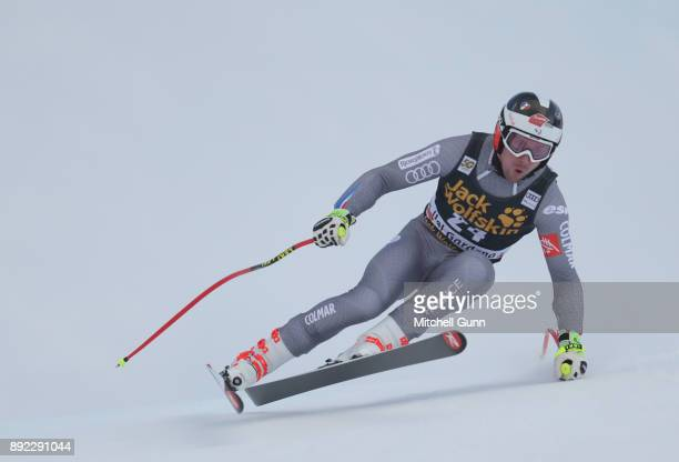 Maxence Muzaton of France races down the Saslong course during the Audi FIS Alpine Ski World Cup Men's Downhill training on December 14 2017 at Val...
