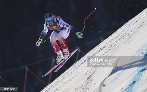 Maxence Muzaton of France takes part in the third practice run for the men's downhill event at the FIS Alpine Ski World Cup in Kitzbuehel Austria on...