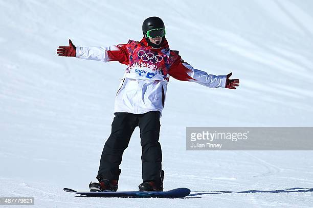 Maxence Parrot of Canada celebrates after his second run during the Snowboard Men's Slopestyle Final during day 1 of the Sochi 2014 Winter Olympics...