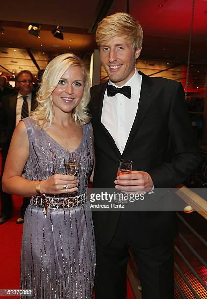 Maxi Arland and Andrea Arland attend the 'Goldene Henne' 2012 award after show party on September 19 2012 in Berlin Germany