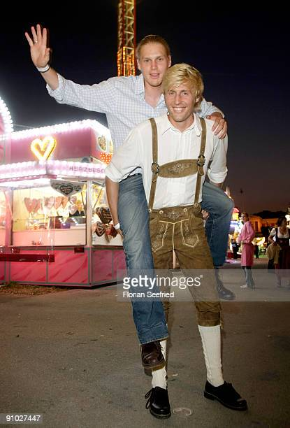 Maxi Arland and brother Hansi Arland attend the GoldstarTV wiesn 2009 at Weinzelt at the Theresienwiese on September 22 2009 in Munich Germany...