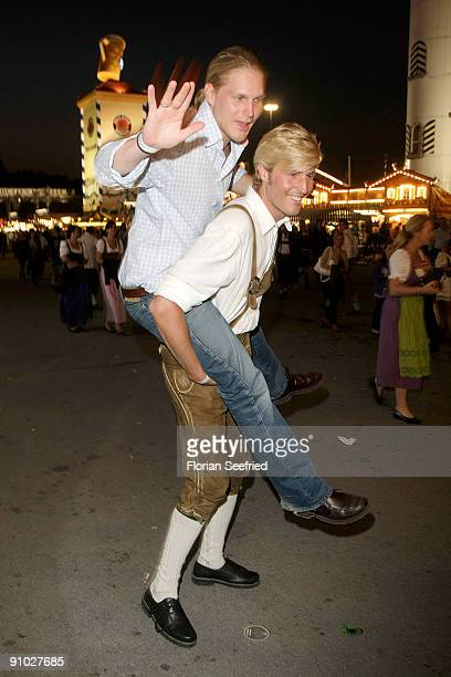 Maxi Arland and brother Hansi attend the GoldstarTV wiesn 2009 at Weinzelt at the Theresienwiese on September 22 2009 in Munich Germany Oktoberfest...