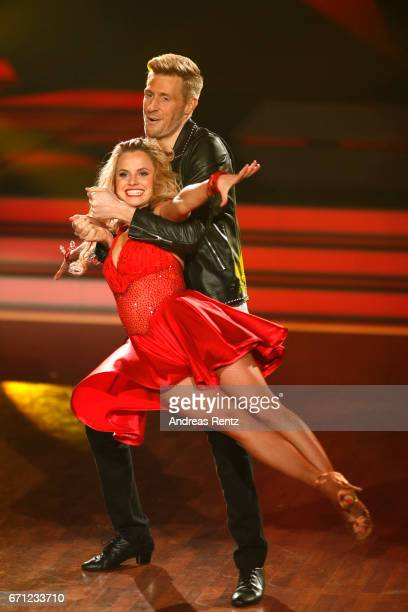 Maxi Arland and Sarah Latton perform on stage during the 5th show of the tenth season of the television competition 'Let's Dance' on April 21 2017 in...