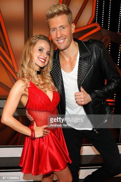 Maxi Arland and Sarah Latton pose after the 5th show of the tenth season of the television competition 'Let's Dance' on April 21 2017 in Cologne...
