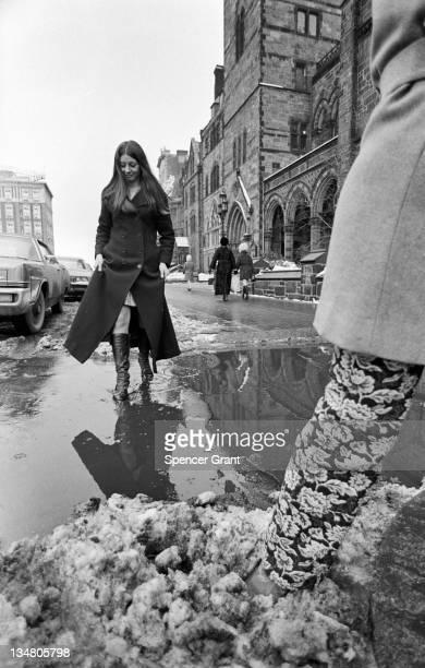Maxi coat and winter slush in Copley Square Boston Massachusetts 1970