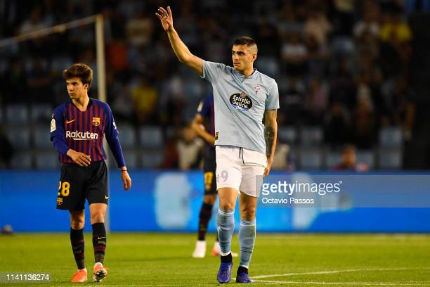 Maxi Gomez of RC Celta celebrates after scoring the first goal during the La Liga match between RC Celta de Vigo and FC Barcelona at AbancaBalaidos...