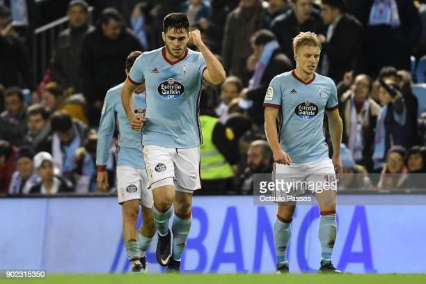 Maxi Gomez of RC Celta de Vigo celebrates after scores the second goal during the La Liga match between RC Celta de Vigo and Real Madrid at Municipal...
