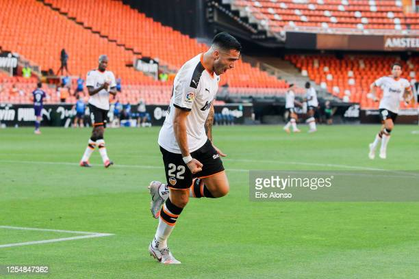 Maxi Gomez of Valencia CF celebrates after scoring his team's first goal during the Liga match between Valencia CF and Real Valladolid CF at Estadio...