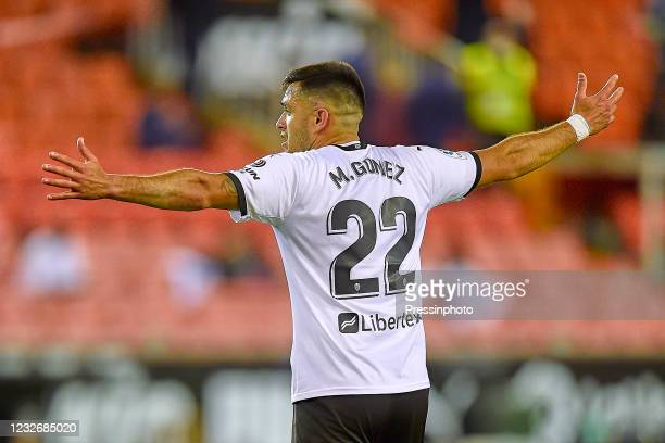 Maxi Gomez of Valencia CF during the La Liga match between Valencia CF and FC Barcelona played at Mestalla Stadium on May 2, 2021 in Valencia, Spain.