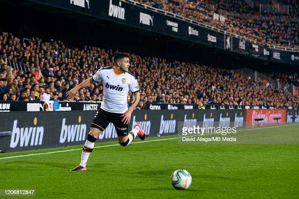 Maxi Gomez of Valencia CF in action during the Liga match between Valencia CF and Club Atletico de Madrid at Estadio Mestalla on February 14 2020 in...