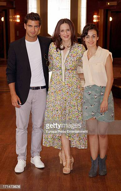 Maxi Iglesias Aitana Sanchez Gijon and Sara Rivero are seen on set filming 'Galerias Velvet' on June 24 2013 in Madrid Spain