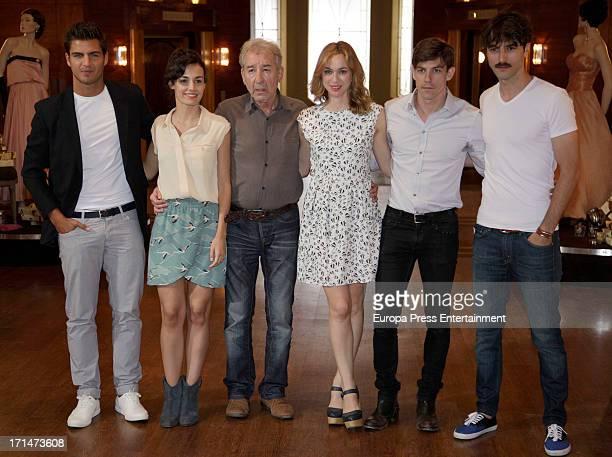 Maxi Iglesias Sara Rivero Jose Sacristan Marta Hazas Adrian Lastra and Javier Rey are seen on set filming 'Galerias Velvet' on June 24 2013 in Madrid...
