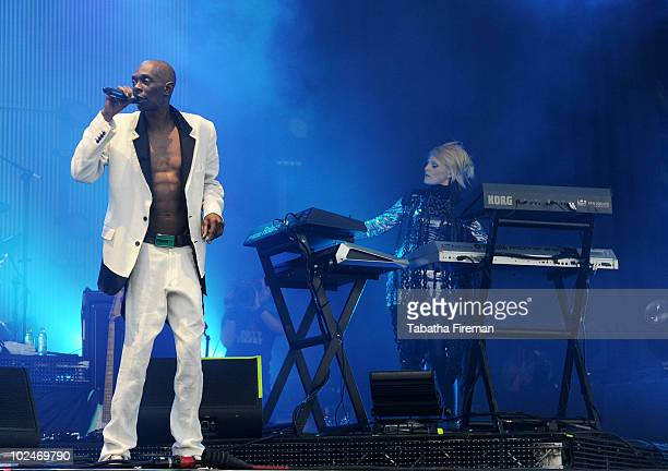 Maxi Jazz and Sister Bliss of Faithless perform on the Pyramid stage on the last day of Glastonbury Festival at Worthy Farm on June 27, 2010 in...