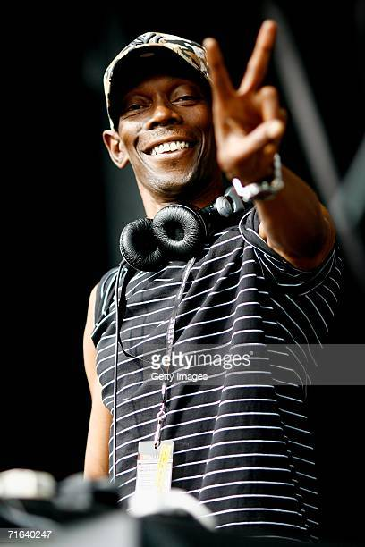 Maxi Jazz performs at the GP Masters of Great Britain at Silverstone circuit on August 13 in Silverstone England