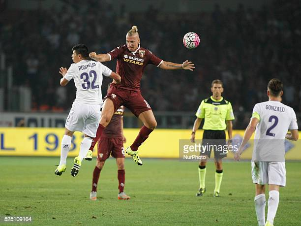 Maxi Lopez and Fecund Roncaglia during the seria A match between Torino FC and ACF Fiorentina at the Olympic Stafium of Turin on august 30 2015 in...