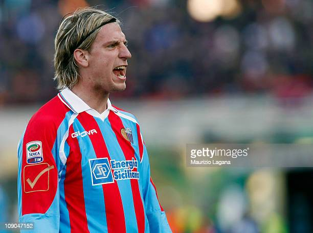 Maxi Lopez of Catania shouts during the Serie A match between Catania Calcio and Lecce at Stadio Angelo Massimino on February 13 2011 in Catania Italy