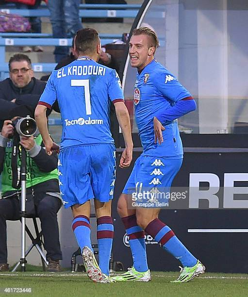 Maxi Lopez of Torino celebrates after scoring goal 23 during the Serie A match between AC Cesena and Torino FC at Dino Manuzzi Stadium on January 18...
