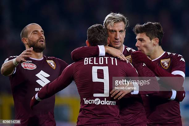 Maxi Lopez of Torino FC celebrates with his team mates after scoring a goal during the TIM Cup football match between Torino FC and AC Pisa Torino FC...