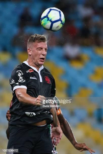 Maxi Lopez of Vasco da Gama heads the ball during a match between Fluminense and Vasco da Gama as part of Brasileirao Series A 2018 at Maracana...