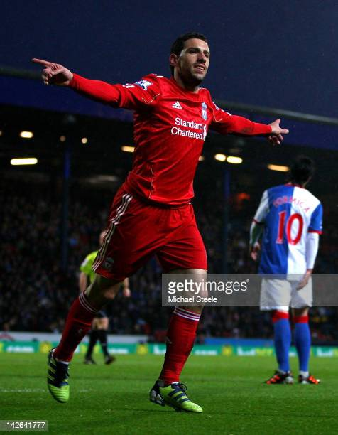 Maxi of Liverpool celebrates scoring his team's second goal during the Barclays Premier League match between Blackburn Rovers and Liverpool at Ewood...