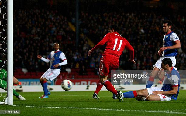 Maxi of Liverpool scores the opening goal during the Barclays Premier League match between Blackburn Rovers and Liverpool at Ewood park on April 10,...