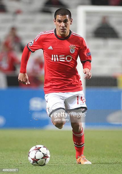 Maxi Pereira of Benfica in action during the UEFA Champions League match between SL Benfica and Paris SaintGermain FC at the Estadio de la Luz...