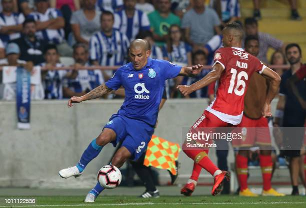 Maxi Pereira of FC Porto in action during the Portuguese Super Cup match between FC Porto and Desportivo das Aves at Estadio Municipal de Aveiro on...