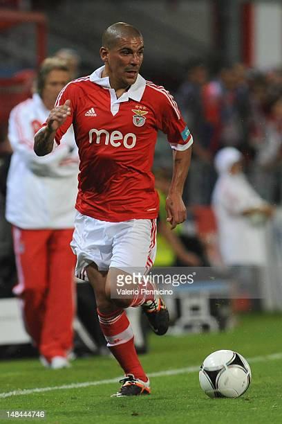 Maxi Pereira of SL Benfica in action during a pre season friendly match between SL Benfica and Olympique Marseille at Estadio Tourbillon on July 13...