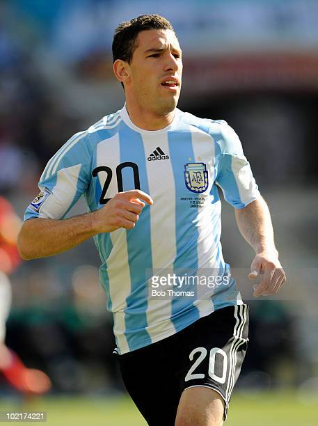 Maxi Rodriguez of Argentina during the 2010 FIFA World Cup South Africa Group B match between Argentina and South Korea at Soccer City Stadium on...