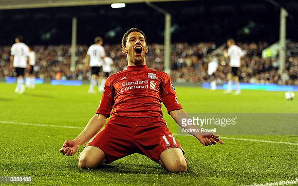 Maxi Rodriguez of Liverpool celebrates after scoring his hat-rick during the Barclays Premier League match between Fulham and Liverpool at Craven...