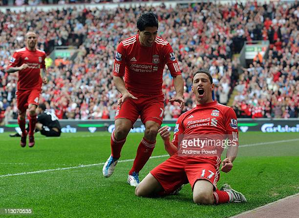 Maxi Rodriguez of Liverpool celebrates his goal during the Barclays Premier League match between Liverpool and Birmingham City at Anfield on April...