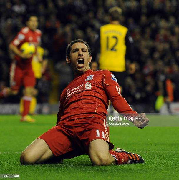 Maxi Rodriguez of Liverpool celebrates his goal during the Barclays Premier League match between Liverpool and Blackburn Rovers at Anfield on...