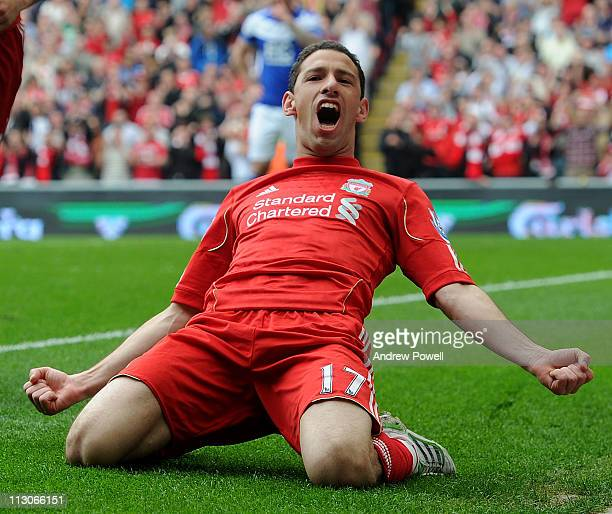 Maxi Rodriguez of Liverpool celebrates his goal to make it 1-0 during the Barclays Premier League match between Liverpool and Birmingham City at...