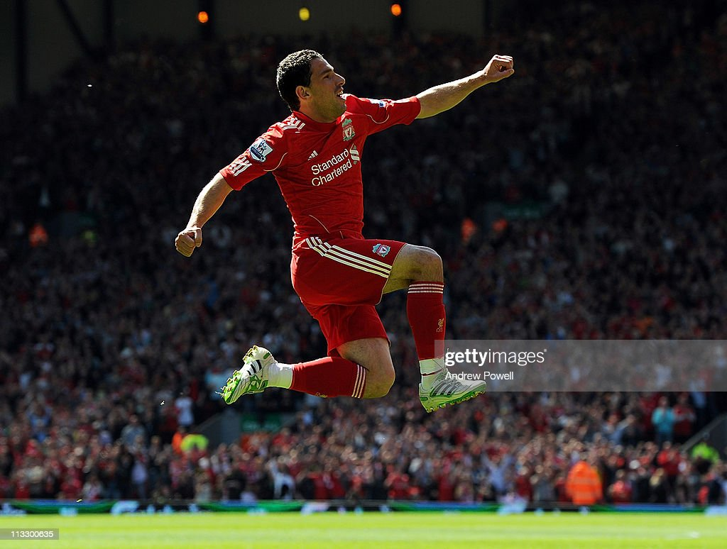 Maxi Rodriguez of Liverpool celebrates his goal to make it 1-0 during the Barclays Premier League match between Liverpool and Newcastle United at Anfield on May 1, 2011 in Liverpool, England.