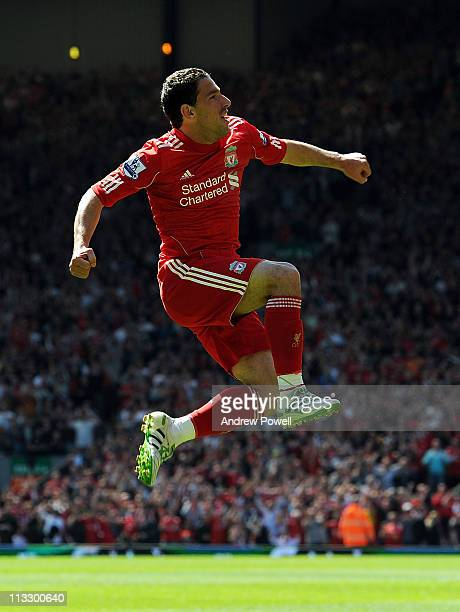 Maxi Rodriguez of Liverpool celebrates his goal to make it 1-0 during the Barclays Premier League match between Liverpool and Newcastle United at...