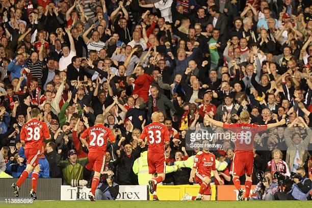 Maxi Rodriguez of Liverpool celebrates scoring in front of the Liverpool fans during the Barclays Premier League match between Fulham and Liverpool...