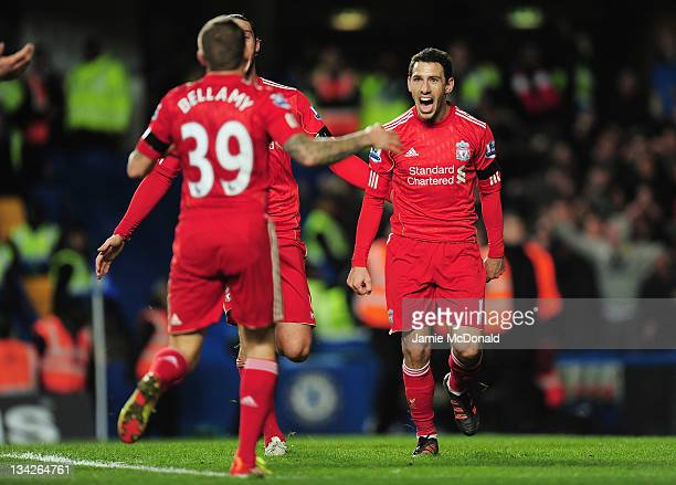 Maxi Rodriguez of Liverpool celebrates the opening goal during the Carling Cup quarter final match between Chelsea and Liverpool at Stamford Bridge...