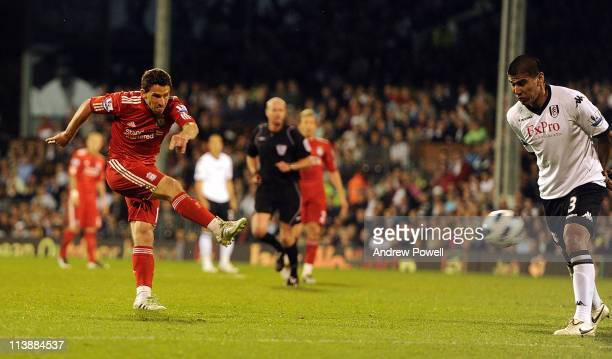 Maxi Rodriguez of Liverpool scores his hatrick and the fourth for Liverpool during the Barclays Premier League match between Fulham and Liverpool at...