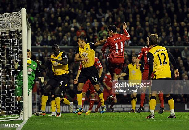 Maxi Rodriguez of Liverpool scores to make it 11 during the Barclays Premier League match between Liverpool and Blackburn Rovers at Anfield on...
