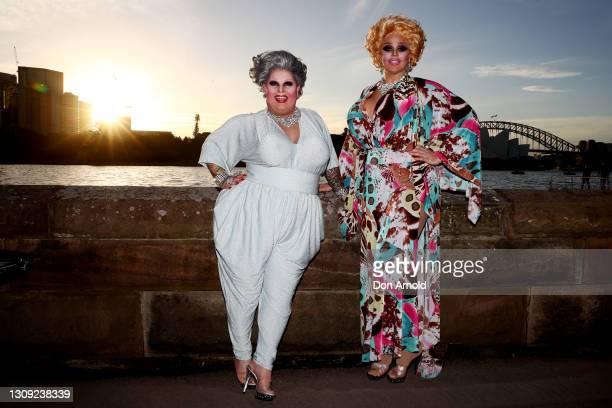 Maxi Shield and Tora Hymen attend opening night of La Traviata on March 26, 2021 in Sydney, Australia.