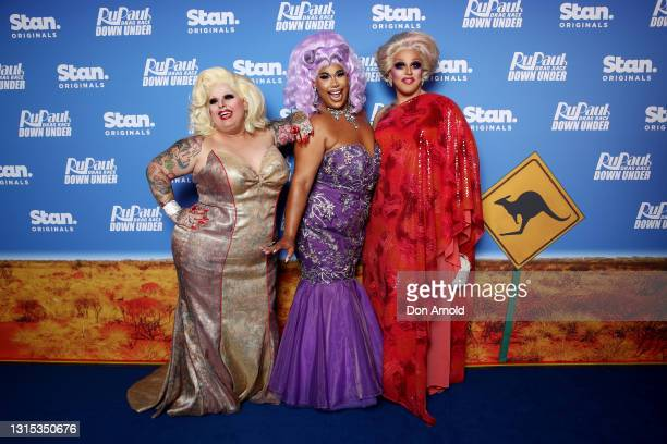 Maxi Shield, Coco Jumbo and Tora Hymen attend the premiere of RuPaul's Drag Race Down Under at Sydney Opera House on April 30, 2021 in Sydney,...