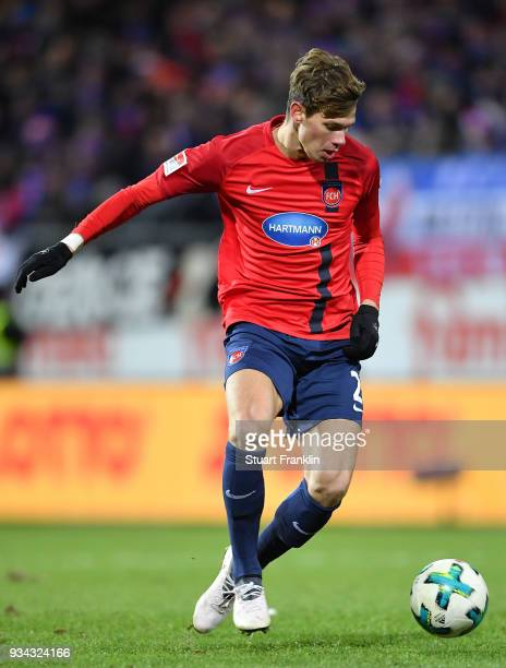 Maxi Thiel of Heidenheim in action during the Second Bundesliga match between Holstein Kiel and 1 FC Heidenheim 1846 at HolsteinStadion on March 16...