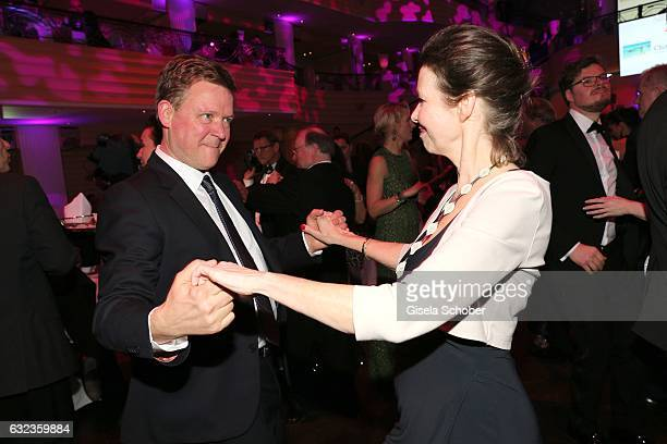 Maxi von Dohnanyi and Justus von Dohnanyi dance during the 44th German Film Ball 2017 party at Hotel Bayerischer Hof on January 21 2017 in Munich...