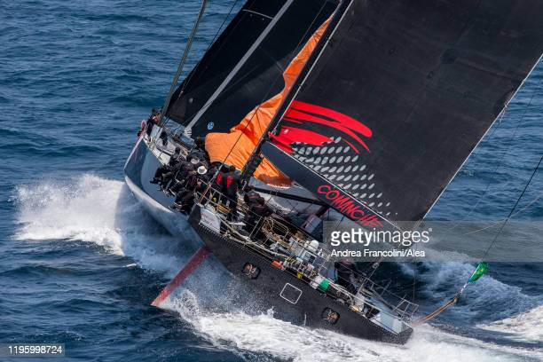 Maxi yacht Comanche takes the start during the 2019 Sydney to Hobart race on Sydney Harbour on December 26 2019 in Sydney Australia