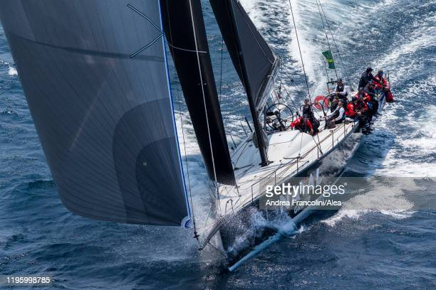 Maxi yacht Naval Group takes the start during the 2019 Sydney to Hobart race on Sydney Harbour on December 26 2019 in Sydney Australia